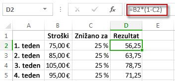Rezultati v odstotkih v stolpcu D