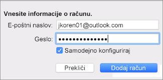 Dodajanje e-poštnega računa