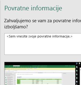 Povratne informacije v Excelovem pogovornem oknu