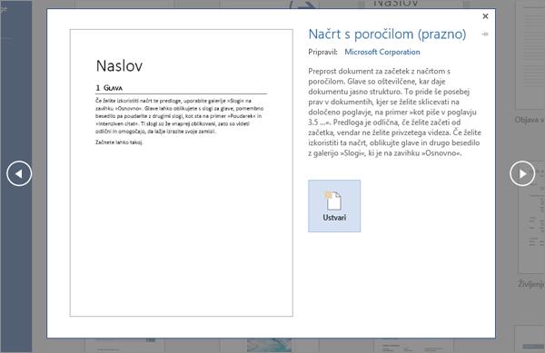 Prikazuje predogled predloge načrta »Poročilo« v programu Word 2016.