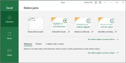 Ustvarjanje delovnega zvezka v Excelu