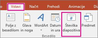 prikaže gumb številke diapozitiva na traku v PowerPointu
