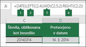 Pretvorite besedilne nize in številke v datume