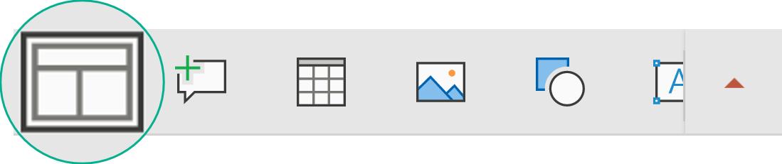 S klikom na gumb »Layout« (»Postavitev«) v plavajoči orodni vrstici lahko izberete postavitev diapozitiva