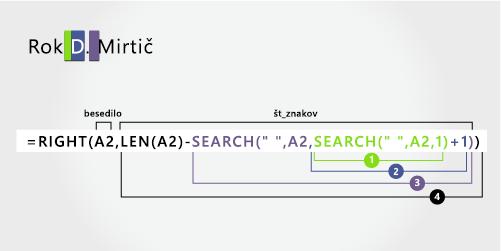 Funkcija second iskanja v formuli za ločevanje prvega in srednjega, imena ter priimka
