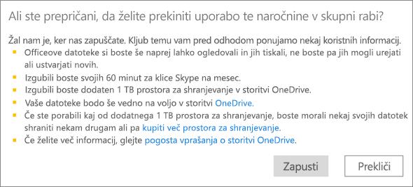 Posnetek zaslona potrditvenega pogovornega okna pri ustavitvi uporabe naročnine na Office 365 Home, ki jo je neka oseba dala v skupno rabo z vami.