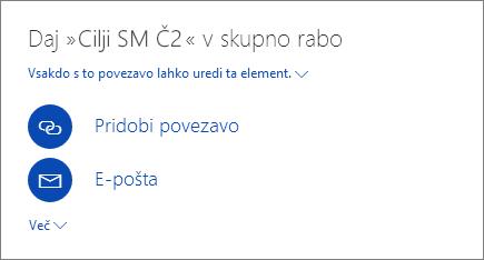 Posnetek zaslona, ki prikazuje, kako daste datoteko v skupno rabo v storitvi OneDrive