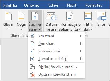 Možnosti »Številka strani« so prikazane na seznamu.