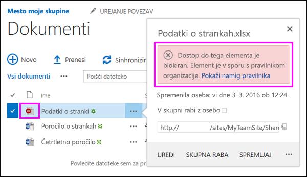 Pravilnik namig prikazuje blokiral dostop do dokumentov