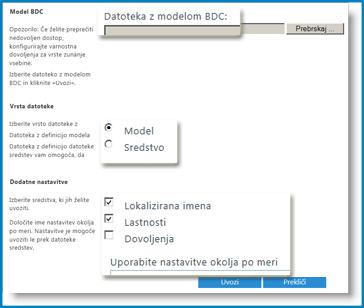 Posnetek zaslona v pogledu modela BCS.