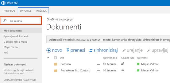 Posnetek zaslona polja za poizvedbo storitve One Drive v storitvi Office 365.