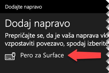Izberite digitalno pero, da sistemu Windows poveste, da ga želite prek povezave Bluetooth povezati z računalnikom
