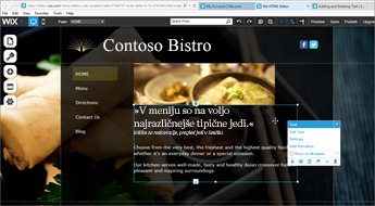 V načrtovanju spletnega mesta Wix izberite »Edit« (Uredi).