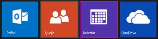 Glavni meni na spletnem mestu Outlook.com – izbira koledarja
