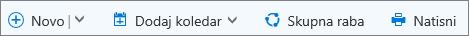 Ukazna vrstica koledarja za Outlook.com