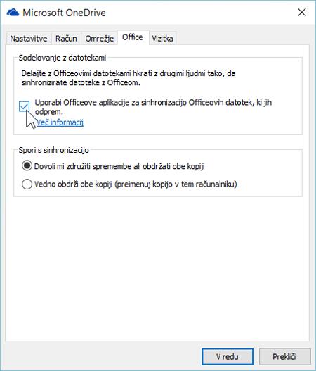 Posnetek zaslona zavihka »Office« v nastavitvah novega odjemalca za sinhronizacijo storitve OneDrive za podjetja