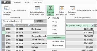 Lastnosti poročanja v orodju PowerPivot: »Povzemi«
