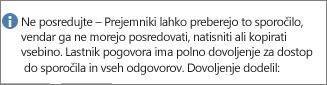 Sporočilo »Ne posredujte« dodano v e-pošto.