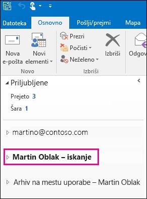 Datoteka PST je prikazana v levi vrstici za krmarjenje v Outlooku