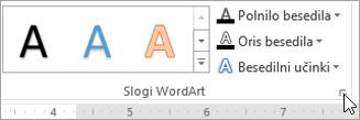 Izberite zaganjalnik pogovornega okna slogi WordArt