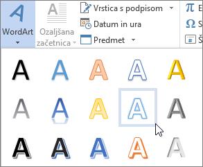 Izberite možnost za WordArt
