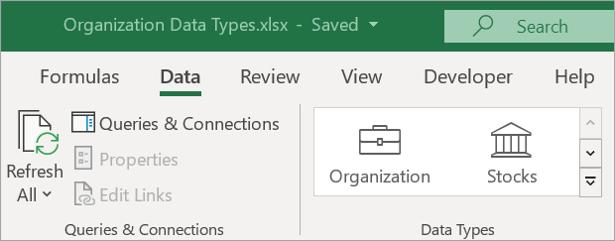 Zavihek» podatki za Excel «, ki prikazuje ikono» vrste podatkov organizacije «