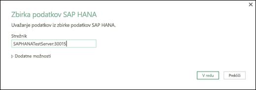 Pogovorno okno »Zbirka podatkov SAP HANA«