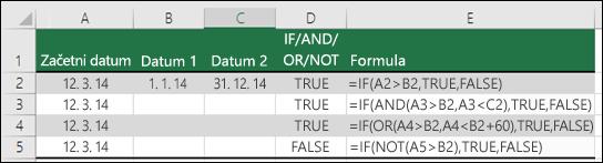 Primeri uporabe funkcije IF s funkcijami AND, OR in NOT za vrednotenje datumov