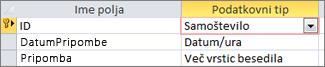 Primarni ključ Samoštevilo, označen kot ID pogledu načrta Accessove tabele