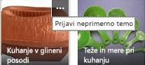 Kliknite ukaz »Več« (…) v zgornjem desnem kotu katerega koli elementa, da prijavite neprimerno vsebino.