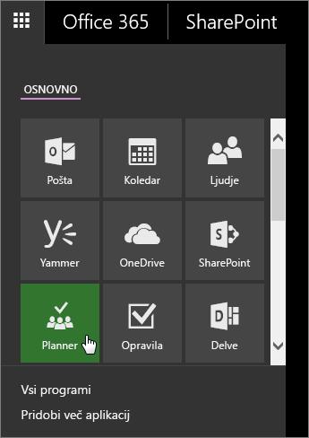Posnetek zaslona s podoknom z aplikacijami storitve Office 365 z aktivno ploščico aplikacije Planner.
