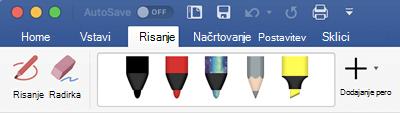 Peresa in označevalniki na zavihku» risanje «v storitvi Office 365 za Mac