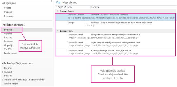 Ko uvozite e-pošto v nabiralnik storitve Office 365, bo prikazana na dveh mestih.