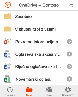 Datoteke storitve OneDrive v programu Office Mobile