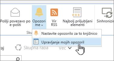 Označen gumb »Upravljaj opozorilo« v programu SharePoint 2016