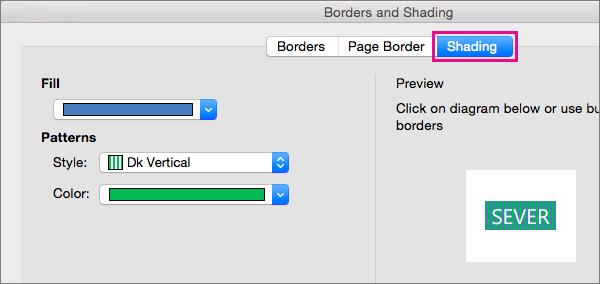 Kliknite zavihek senčenje, da Zapolnite izbrano besedilo z barvami in vzorci.