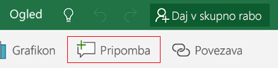 Dodajanje pripombe v programu Excel Mobile za Windows 10