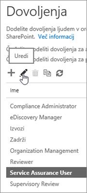 Prikazuje izbrano vlogo uporabnika nadzora kakovosti storitve in nato še izbrano ikono urejanja.