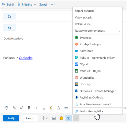 Posnetek zaslona prikazuje e-poštno sporočilo z izbrano možnostjo »Dobite dodatke«.