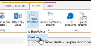Vstavljanje povezave z uporabo spletnega naslova