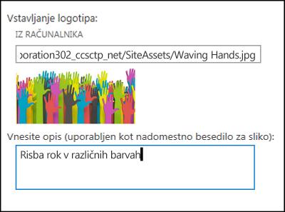 Pogovorno okno za dodajanje naslova in logotipa novega mesta v SharePoint Onlineu, v katerem so prikazana navodila za ustvarjanje nadomestnega besedila za sliko logotipa