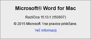 Posnetek zaslona, na katerem je prikazana stran »Word – vizitka« v Wordu za Mac