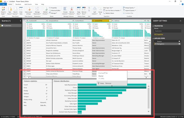 Možnosti profiliranja podatkov na dnu urejevalnika dodatka Power Query