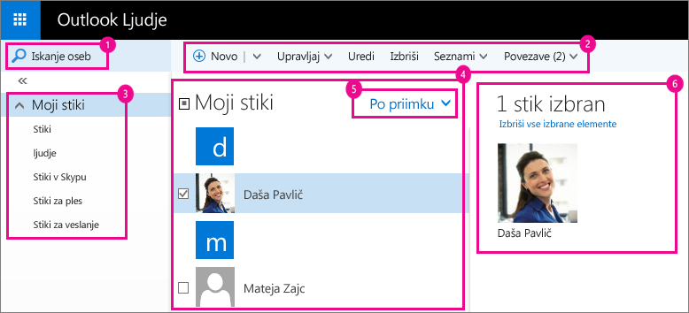 Posnetek zaslona strani »Ljudje« v Outlooku.