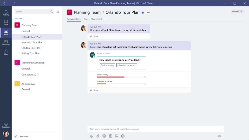 Odgovarjanje na Microsoft oblike QuickPoll v Microsoft skupinam