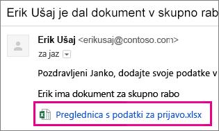 E-pošta, s katero prejemnika vabite na skupno rabo dokumenta