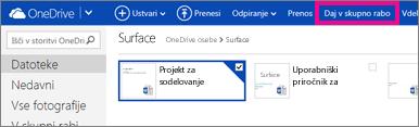 Kliknite skupno rabo v storitvi OneDrive