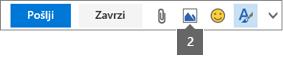 Z ikono za vstavljanje slike lahko vsebino vstavite iz storitve OneDrive ali iz računalnika