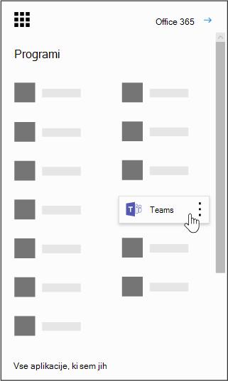 Zaganjalnik aplikacij v storitvi Office 365 z označeno aplikacijo Microsoft Teams