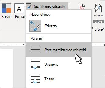 Nastavljanje enojnega razmika v dokumentu